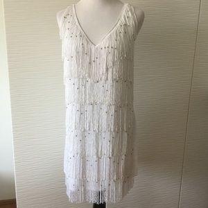 Bebe White Fridge and Bead Flapper Dress